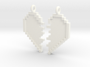 Pixel Heart Friendship Pendant in White Strong & Flexible Polished