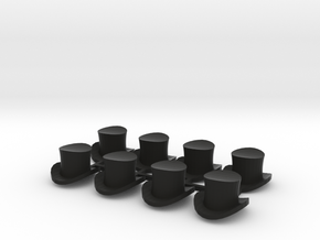 28mm Top hats (x8) in Black Strong & Flexible