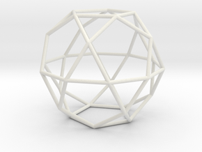 Icosidodecahedron 100mm in White Strong & Flexible