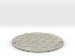 Flower of life coaster 100x4mm in Transparent Acrylic