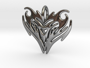 Pendant Heart Tribal Pattern in Polished Silver