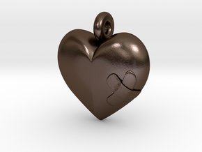 Wounded Heart Pendant in Polished Bronze Steel
