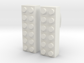 2x6 Brick Earring 00g in White Strong & Flexible