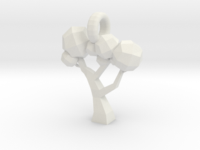 Low Poly Tree pendant in White Strong & Flexible