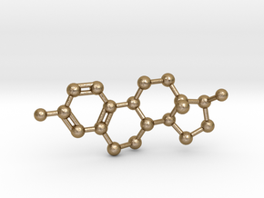 Estrogen (Estradiol) Molecule Pendant BIG in Polished Gold Steel