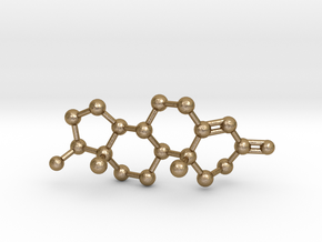 Testosterone Molecule Necklace BIG in Polished Gold Steel