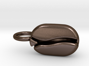 Coffee Bean pendant for coffee lovers. in Polished Bronze Steel