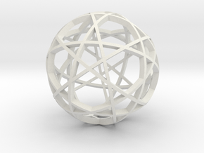 Pentagram Dodecahedron 3 (narrow) in White Strong & Flexible