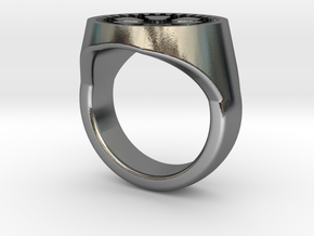 Gear Signet Ring in Polished Silver