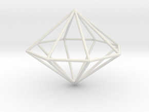 octagonal dipyramid 70mm in White Strong & Flexible