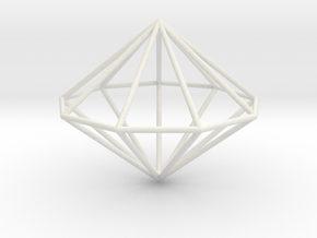Nonagonal dipyramid 70mm in White Strong & Flexible