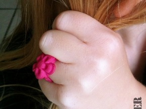 Child Flower Ring Size 2 in Pink Strong & Flexible Polished