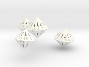 Regular Dipyramidal Dice Set in White Strong & Flexible Polished