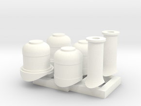 HOn30 Domes + Smoke stacks for 2-8-0 steam loco in White Strong & Flexible Polished