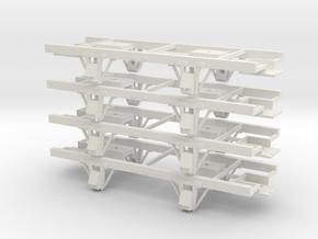 On30 14ft 4w underframe 4 pack in White Strong & Flexible