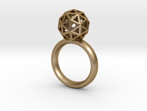 Geodesic Dome Ring size 7.5 in Polished Gold Steel