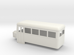 O9/On18 rail bus single end in White Strong & Flexible