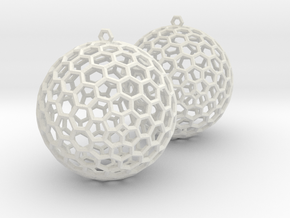 Polyhedron Cage Earring in White Strong & Flexible