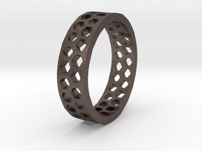 Hexagon Pattern Ring - Size 12 - Double Layer in Stainless Steel