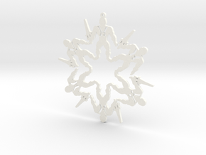 Snowflake He-Man Ornament in White Strong & Flexible Polished