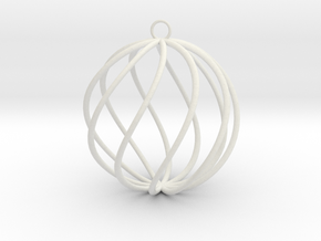 spiral christmas ball small in White Strong & Flexible