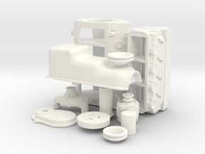 1/8 Stock BBC Block Kit (No Mech Fuel Pump) in White Strong & Flexible Polished