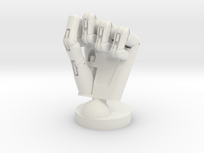 Cyborg hand posed fist small in White Strong & Flexible