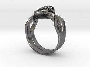 Lotus Ring in Polished Nickel Steel