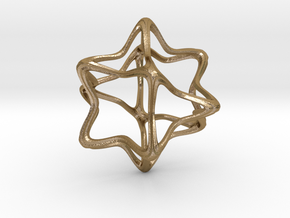CubeOctoHedra Curvy Pinch - 5cm in Polished Gold Steel
