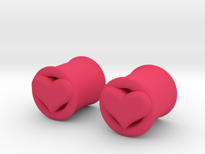 Heart 10mm (00 gauge) tunnels in Pink Strong & Flexible Polished