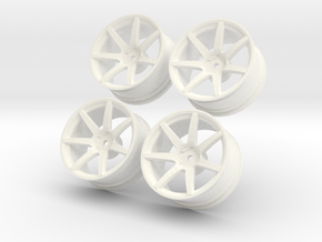 1/10 Touring Car Vossen CV7  Wheel Set  in White Strong & Flexible Polished