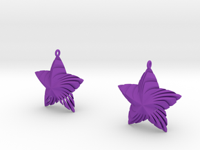 Tortuous Stars Earrings (small size) in Purple Strong & Flexible Polished