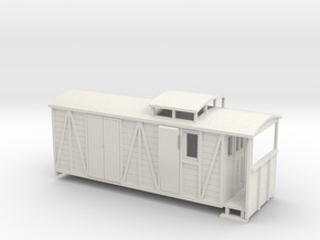 OO9 bogie brake/road van with birdcage in White Strong & Flexible