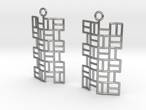 Tatami Earrings in Raw Silver