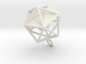 Dodecahedron and Ball Earrings in White Strong & Flexible
