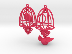 Bird in a Cage Earrings 04 in Pink Strong & Flexible Polished