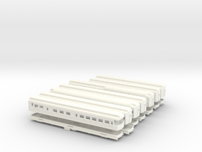 Z Scale Pullman Hvywt Passenger Cars-Complete Set in White Strong & Flexible Polished