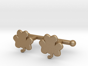 Shamrock Cufflinks Set in Matte Gold Steel