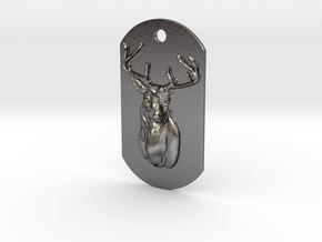 Dog Tag Deer Head in Polished Nickel Steel