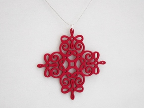Quad Flourish Pendant in Pink Strong & Flexible Polished