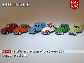 SET 6x Citroën 2CV (British N 1:148) in Frosted Ultra Detail