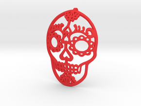 Day of the Dead Skull Pendant in Red Strong & Flexible Polished