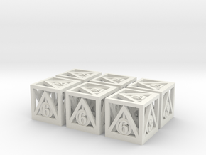 Deathly Hallows 6d6 Set in White Strong & Flexible