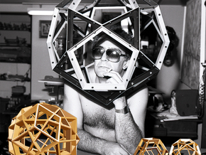 Polyhedral Sculpture #23 in Polished Gold Steel