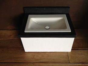 1:12 Bathroom Sink sunken in White Strong & Flexible Polished