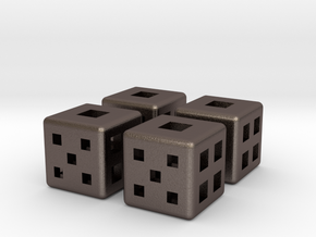d6 Fair Dice 12mm x4 in Stainless Steel