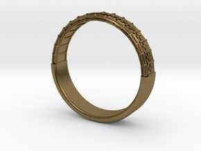 Atom Array Ring Detailed Half in Raw Bronze