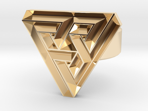 100321 triangle angle ring in 14K Gold