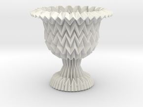 Cup / Vase Tessellated With Closed Center in White Strong & Flexible