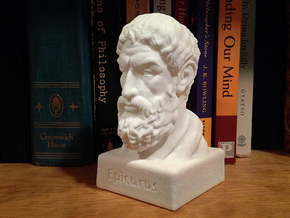 Epicurus Philosopher Bust 4 inches in White Strong & Flexible